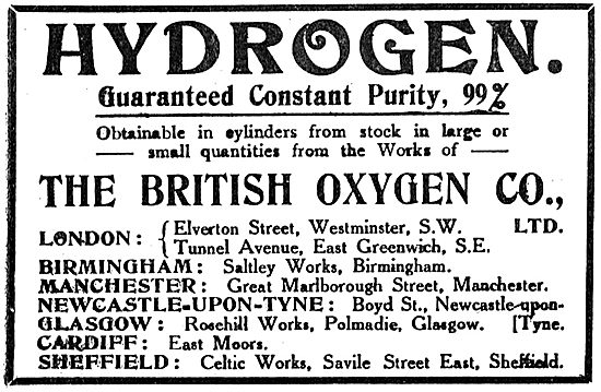 British Oxygen Co - 99% Pure Hydrogen For Airships & Dirigibles