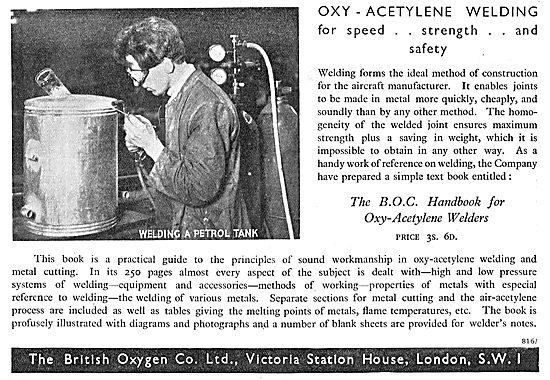 British Oxygen Co: BOC Oxy-Acetylene Welding Equipment
