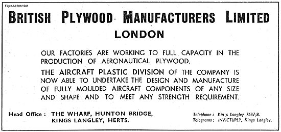 British Plywood Manufacturers For Plastic Aircraft Mouldings