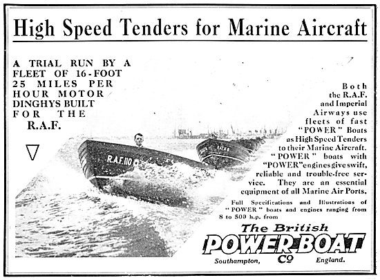 British Power Boat Company High Speed Tenders 1932