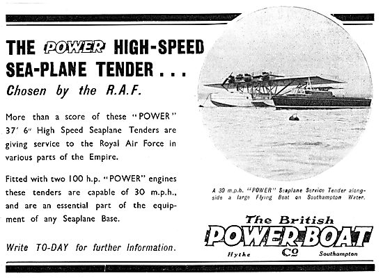 British Power Boat Company High-Speed Sea-Plane Tender 1933