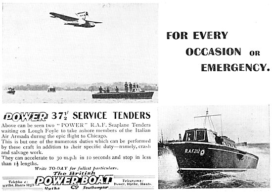 British Power Boat Company 37' RAF Service Tenders 1933