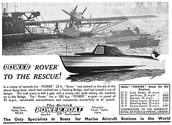 British Power Boat Company Rover Flying Boat Tender 1933