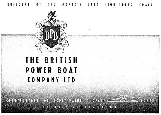 British Power Boat Company - Scott-Paine Surface Craft