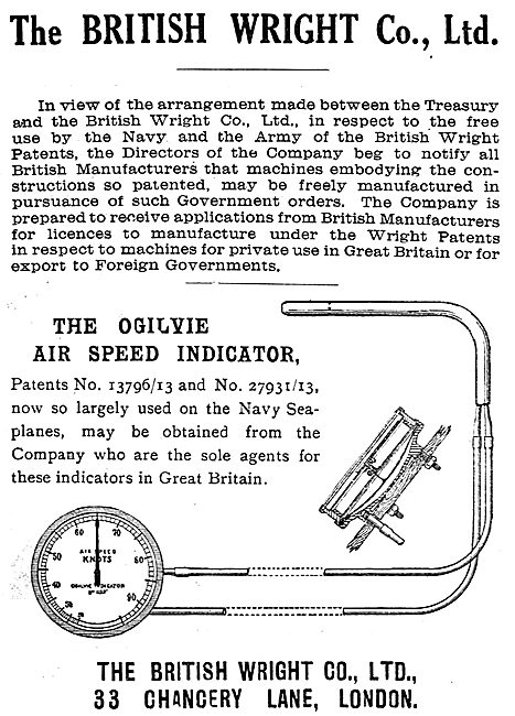 British Wright - The Ogilvie Air Speed Indicators