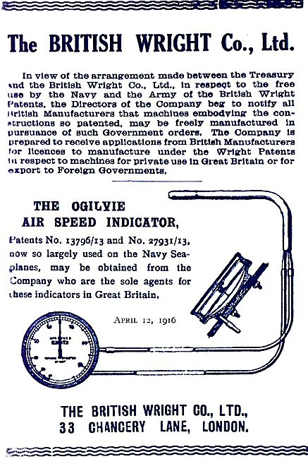 The British Wright Ogilvie Air Speed Indicator