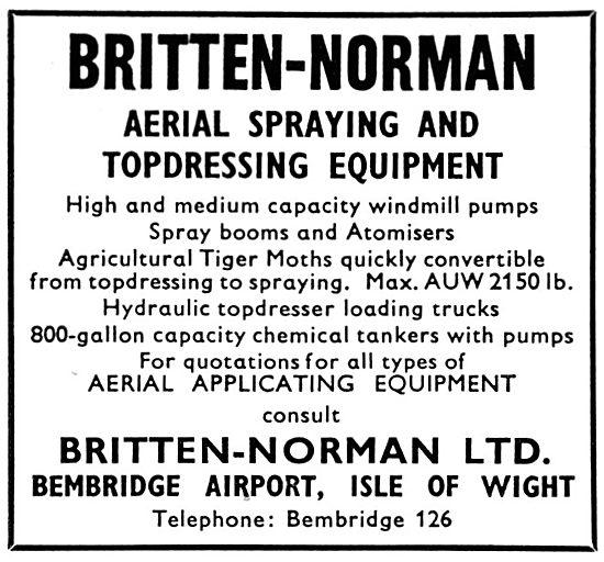 Britten-Norman Aerial Spraying & Top Dressing Aircraft Equipment