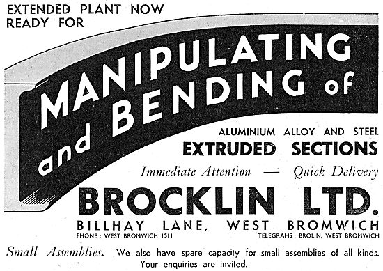 Brocklin Ltd. Billhay Lane. West Bromwich. Extrusions & Assembly