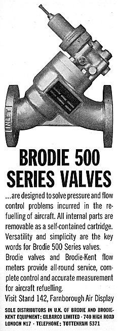 Brodie-Kent Series 500 Fuel Valves  For Aircraft Refuellers.