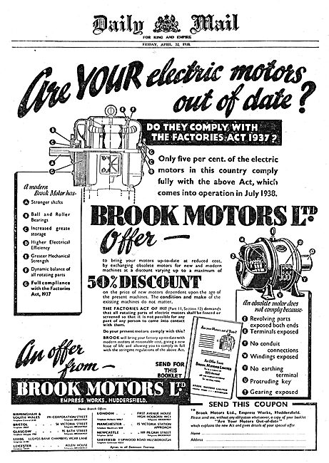 Brook Motors - 1937 Factories Act Compliant Electric Motors