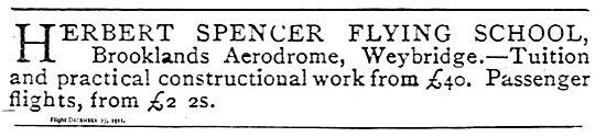 Herbert Spencer Flying School Brooklands Aerodrome