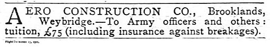 Aero Contsruction Flying Tuition For Army Officers - Brooklands