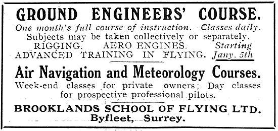 Ground Engineers' Courses At The Brooklands School Of Flying