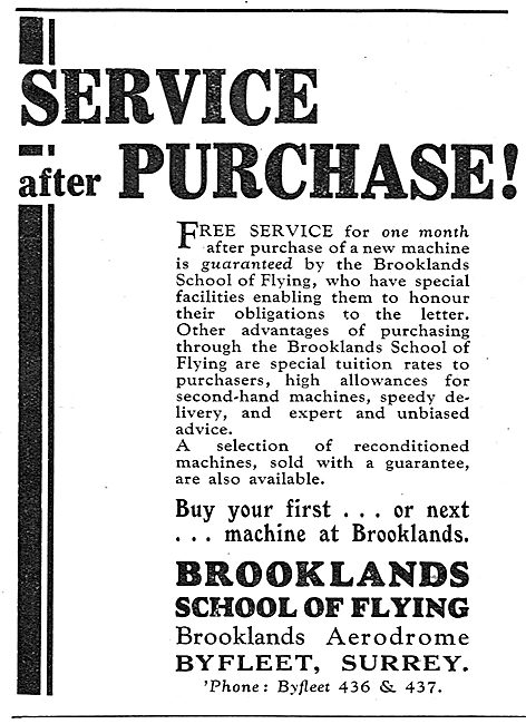 Brooklands School Of Flying - Service After Purchase