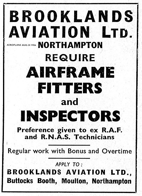 Brooklands Aviation Require Airframe Fitters & Inspectors