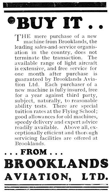 Brooklands Aviation Aircraft Sales 1931