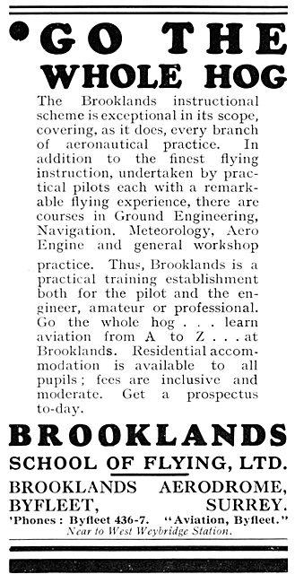 Brooklands School Of Flying 1931