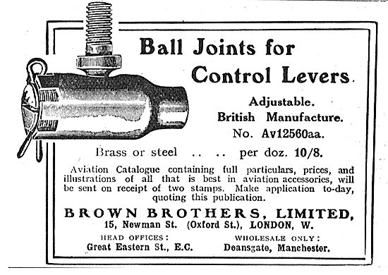 Brown Brothers Ball Joints For Aeroplane Control Levers