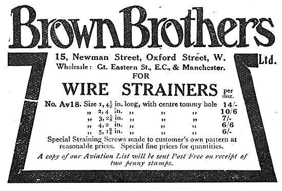 Brown Brothers Aeroplane Wire Strainers