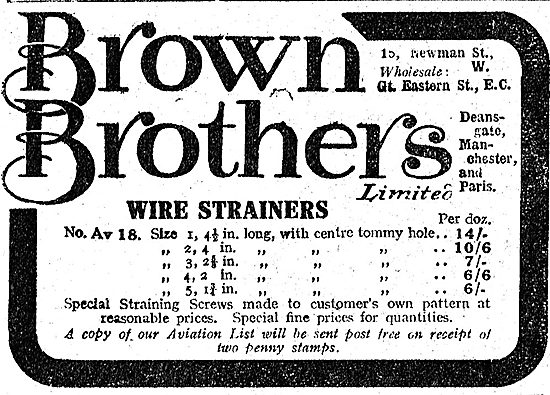 Brown Brothers Wire Strainers For Aeroplane Builders