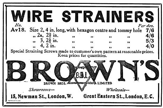 Brown Brothers Wire Strainers.