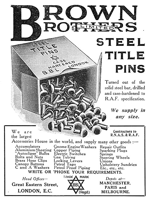Brown Brothers Steel Title Pins