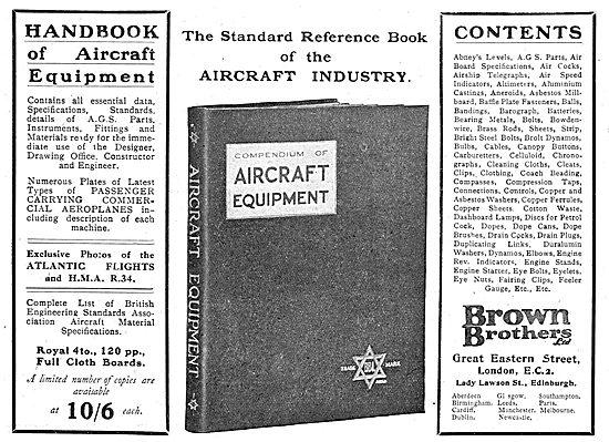 Brown Brothers Handbook Of Aircraft Equipment 1920