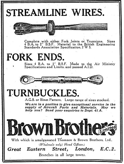 Brown Brothers Streamline Wires & Fork Ends For Aircraft