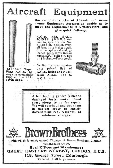 Brown Brothers Taper Pins & Ball Joints For Aircraft Constructors
