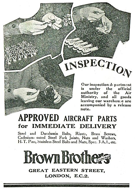 Brown Brothers Inspection Department Is Air Ministry Approved
