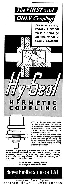 Brown Brothers Hy-Seal Hermetic Couplings For Aircraft