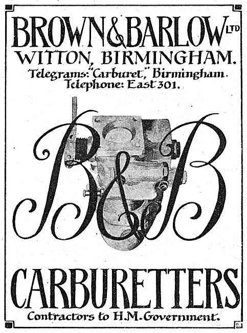 Brown & Barlow. Witton, BIrmingham. Aircraft Carburetters