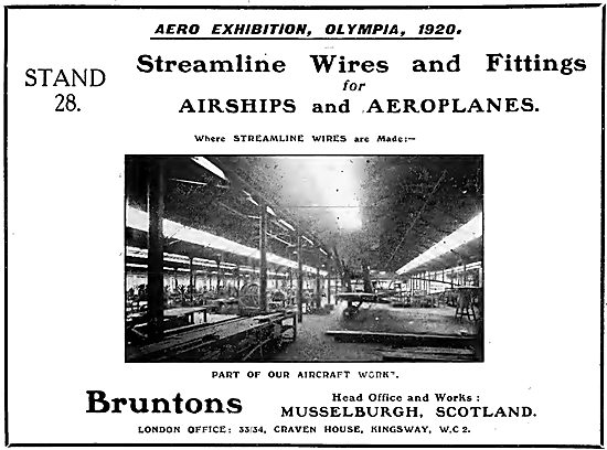 Bruntons Streamline Wire For Airships & Aeroplanes. 1920