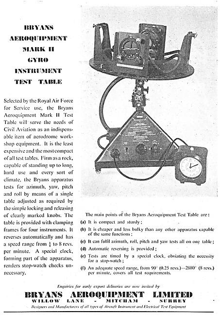 Bryans Aeroquipment Gyro Instrument Test Table