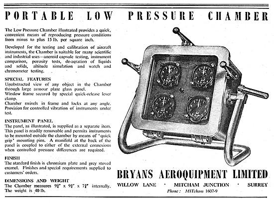 Bryans Aeroquipment Test Equipment Portable Low Pressure Chamber