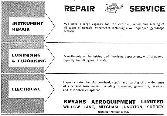 Bryans Aeroquipment Instrument Repair Service 1948