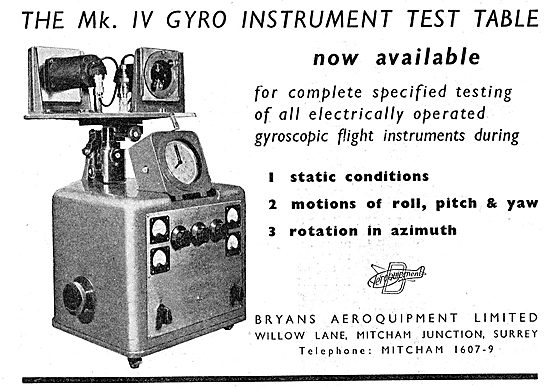 Bryans Aeroquipment Mk IV Gyro Instrument Test Table 1949