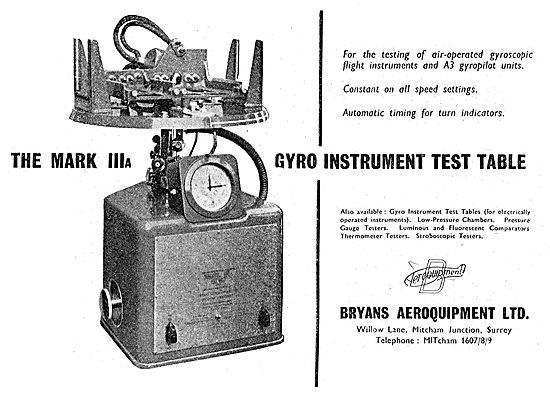 Bryans Aeroquipment Mark IIIA Gyro Instrument Test Table