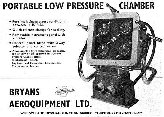 Bryans Aeroquipment. Portable Low Pressure Chamber