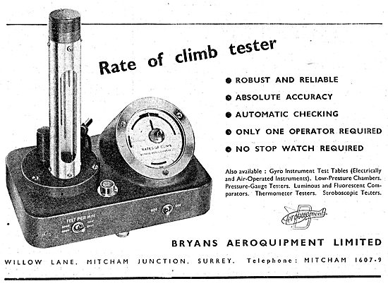 Bryans Aeroquipment. Rate Of Climb Tester