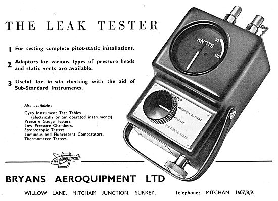 Bryans Aeroquipment. Leak Tester