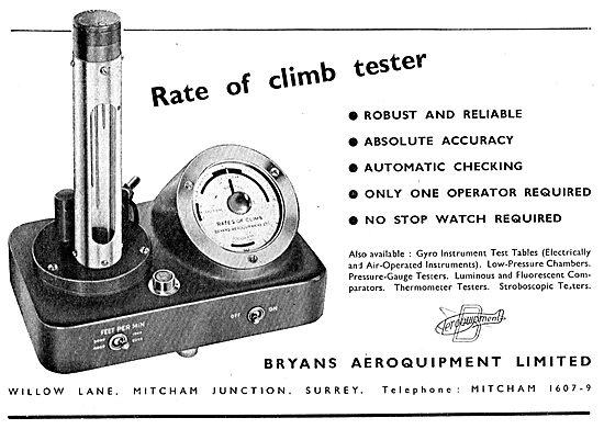 Bryans Aeroquipment Rate Of Climb Tester