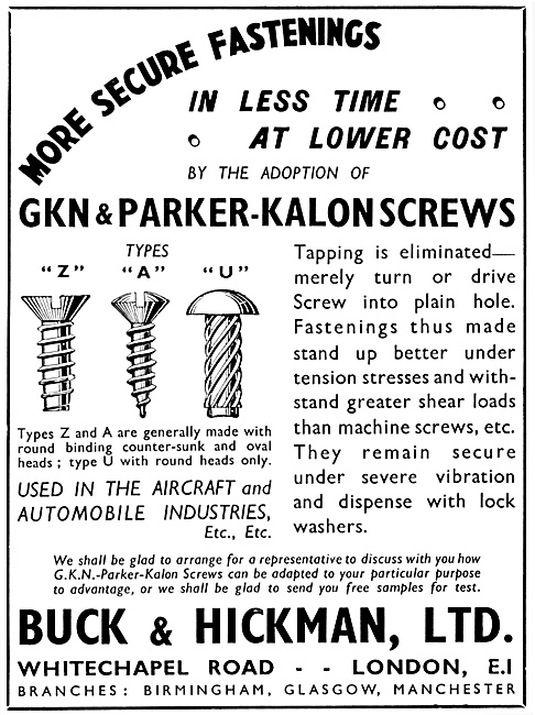 Buck & Hickman GKN & Parker-Kalon Screws