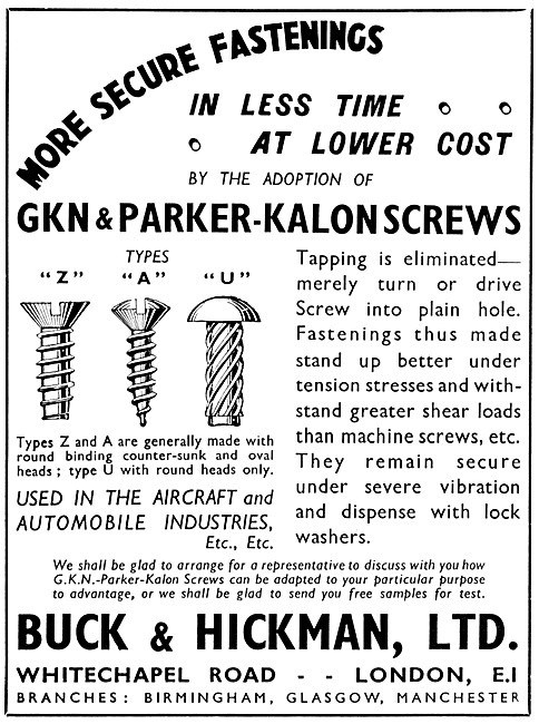 Buck & Hickman GKN & Parker-Kalon Screws