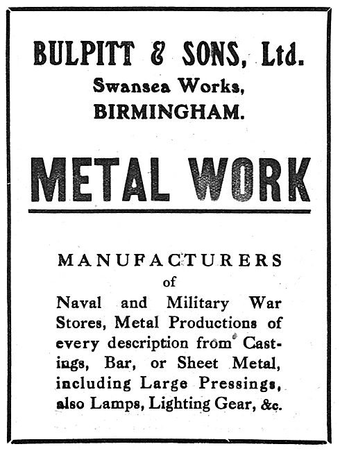 Bulpitt & Sons Ltd. - Aircraft Engineering.  Swansea Works, Birm
