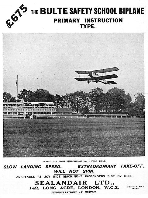 Bulte Safety School Biplane - Sealandair 1930 Advert