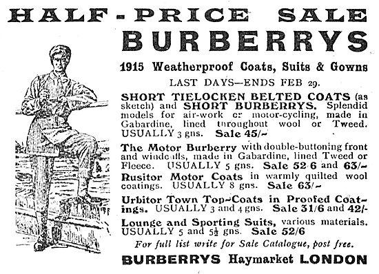 Half-Price Sale Of Burberry 1915 Weatherproof Coats & Gowns
