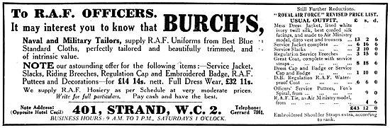 Burch's RAF Officers Kit & Uniforms