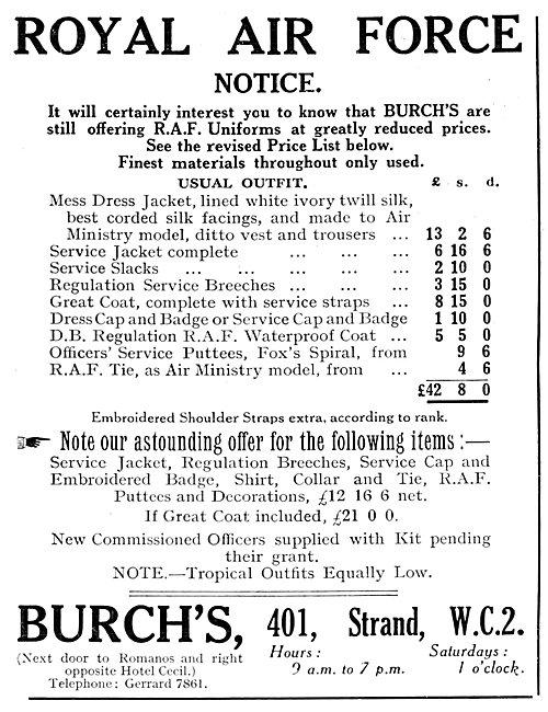 Burchs RAF Uniforms 1925 - Burchs Military Outfitters