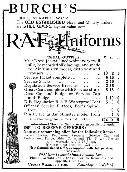 Burchs RAF Uniforms 1925 - Burch's Military Outfitters
